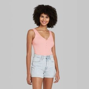 Wild Fable Women's Pink Snap Placket Bodysuit NWT